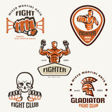Set of fighting club emblems, MMA Stock Photography