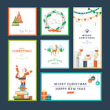Set of flat design Christmas and New Year greeting card templates Stock Image