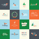 Set of flat design elements for Christmas and New Year greeting cards Stock Photos