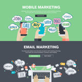 Set of flat design illustration concepts for mobile and email marketing Stock Photo