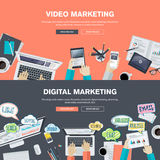 Set of flat design illustration concepts for video and digital marketing Stock Photography