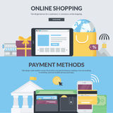 Set of flat design style banners for e-commerce Stock Images