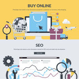 Set of flat design style concepts for e-commerce and SEO Stock Images