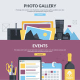 Set of flat design style concepts for photo gallery and events Stock Images