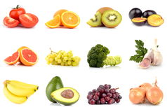 Set of fruits and vegetables isolated on white Stock Photo