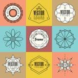 Set line art insignia retro vintage design elements Stock Images