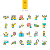 Set of line modern color icons of hand using a variety of products Stock Photo