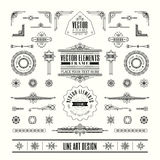 Set of linear thin line art deco retro vintage design elements Stock Photography