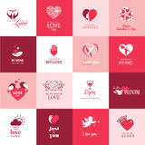 Set of love and romantic icons for Valentines day Royalty Free Stock Images