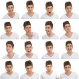 Set of male facial expressions Stock Images