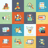 Set of modern flat design concept icons for marketing Royalty Free Stock Photo