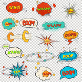 Set of multicolored comic sound effects Stock Photos