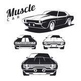 Set of muscle car icons and emblems  on white background. Royalty Free Stock Photography