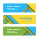Set nowożytni kolorowi horyzontalni wektorowi sztandary w materialnym projekta stylu Obraz Stock