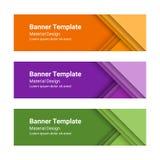 Set nowożytni kolorowi horyzontalni wektorowi sztandary w materialnym projekta stylu Zdjęcie Royalty Free