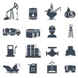 Set of oil and gas grey icons Petroleum industry Stock Photography