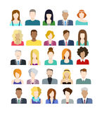Set of people icons in flat style with faces Royalty Free Stock Image