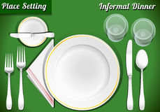 Set of Place Setting Informal Dinner Royalty Free Stock Photos