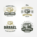 Set of retro badge logo designs with wodden barrels Stock Photos