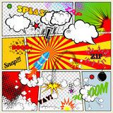 Set of Retro Comic Book Vector Design elements, Speech and Thought Bubbles Stock Photography