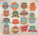 Set of retro vector label stickers and ribbons. Stock Images