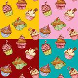 Set of seamless patterns with decorated sweet cupcakes Royalty Free Stock Photography