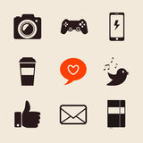 Set of social network icons vector illustration with like hand, mail, heart, foto camera, PS joystick, coffee cup, iphone Royalty Free Stock Images