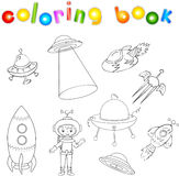 Set of spacecraft, spaceship and aerospace vehicle. Flying saucer, satellite and astronaut. Coloring book for children Stock Image
