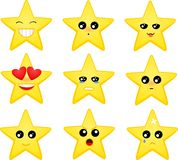 Set of star emoticons Stock Images