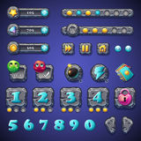 Set stone buttons, progress bars, bars objects, coins, crystals, icons, boosters and other ellementov for web design and user inte Royalty Free Stock Photo