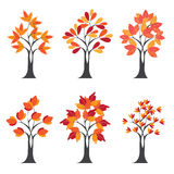 Set of Stylize Happy Thanksgiving background with red autumn tree on morning background, can be use as flyer, banner or poster, Royalty Free Stock Photos