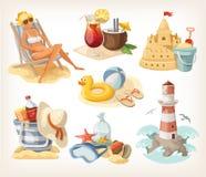 Set of summer beach elements Stock Image