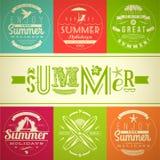 Set of summer vacation and holidays emblems Stock Photos