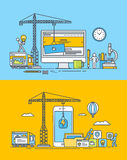 Set of thin line flat design concepts of web and mobile sites and apps Stock Photo