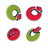 Set of three-dimensional abstract icons, play sign, arrows Stock Photos