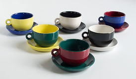Set of varicolored cups Stock Photos