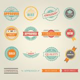 Set of vector colored emblems and stamps Stock Images