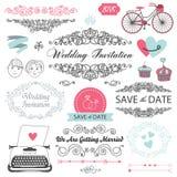 Set of vector vintage wedding invitation design Stock Photos