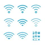 Set of vector wireless icons for wifi remote control access and radio communication Stock Photo