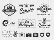 Set of vintage badge logo camera and photography design, monochrome emblem, banner, insignia, logotype and symbol icons for photog Stock Photography