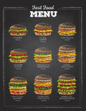Set of Vintage chalk drawing Sandwich. fast food menu. Royalty Free Stock Photography