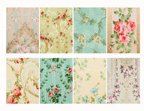 Set of Vintage french floral shabby floral chic walloper background Samples Stock Photography