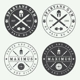 Set of vintage gym logos, labels and emblems Stock Photo
