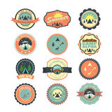Set of vintage outdoor camp badges and traveling emblems. Illustratio Stock Photos