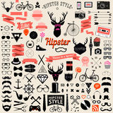 Set of vintage styled design hipster icons. Vector signs and symbols templates Stock Photo