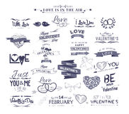 Set of vintage styled design romantic for valentine and wedding Stock Photography