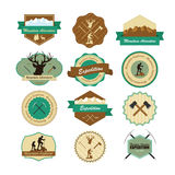 Set of vintage woods camp badges and travel emblems Stock Photography