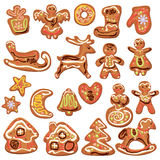 Set of xmas gingerbread isolated on white Stock Photos