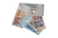 Seta croata das cédulas do kuna da moeda Fotos de Stock Royalty Free