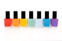Seven bottles of nail varnish Stock Photo